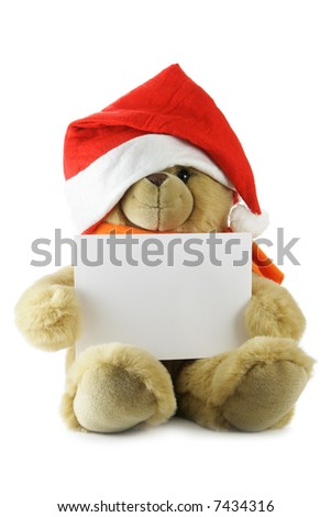 Teddy bear with blank sheet for your own text hat isolated over white background