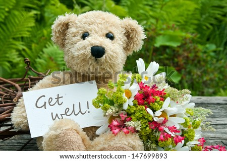 teddy bear with flowers and card with lettering get well/get well/teddy #147699893