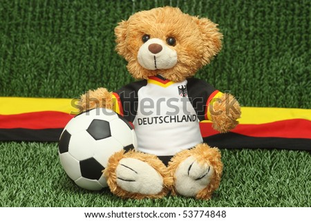 Teddy bear with football shirt on lawn background