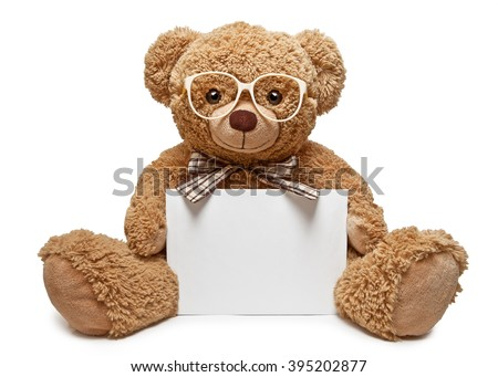 Teddy bear with glasses holding a blank banner Foto stock ©