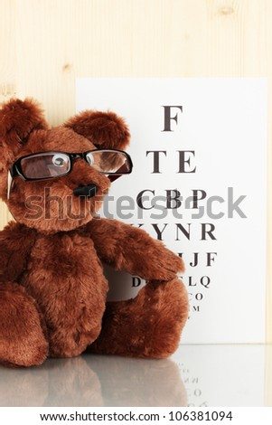 Teddy bear with glasses on eyesight test chart background close-up