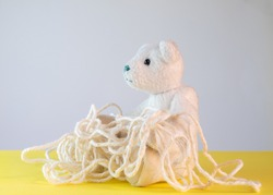 Teddy bear with muddled string