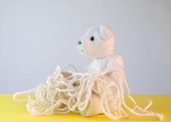 Teddy bear with muddled string