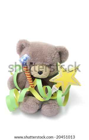 Teddy Bear with Party Favors on White Background