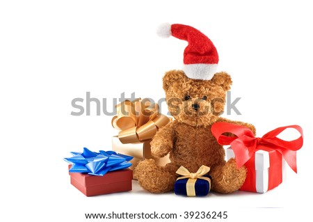 teddy bear with presents isolated