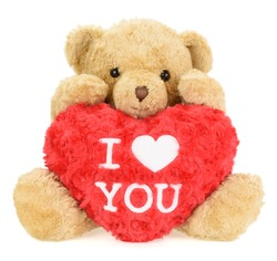 Teddy bear with red heart. Valentine's Day