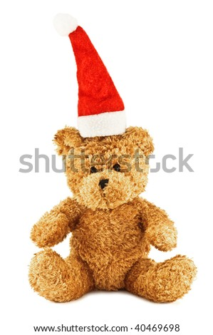 teddy bear with santa cap