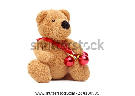 Teddy Bear With Small Red Decorative Balls On Christmas EZ Canvas Inspiration Small Decorative Balls