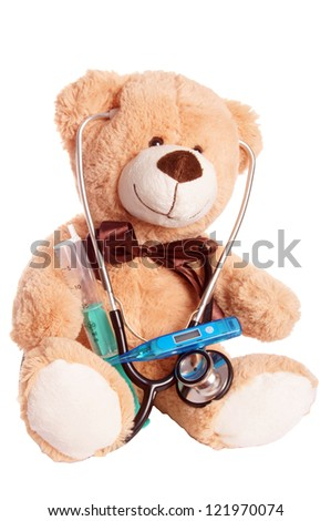 Teddy bear with stethoscope / Pediatrician