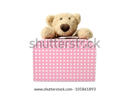teddy bear with suitcase, pink and white dots. isolated on white background