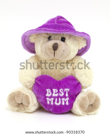 teddy bear with violet hat and heart for best mum on white