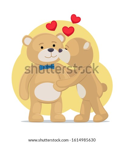 Teddy bears couple, female kisses male in cheek, hearts above them, raster illustration of merry lovers animals isolated on white background