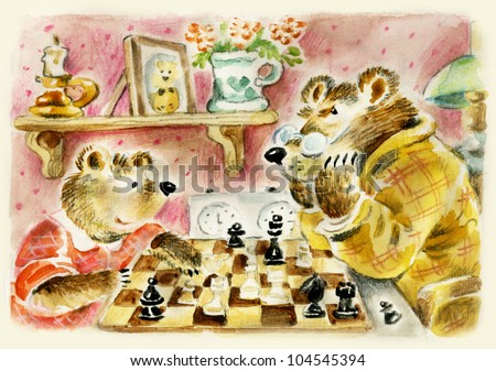 Teddy bears daddy and son playing chess. Useful for Father's Day card