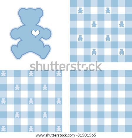 Teddy Bears & Gingham Seamless Patterns in Pastel Blue. Teddy Bear with a big heart, 3 check designs.