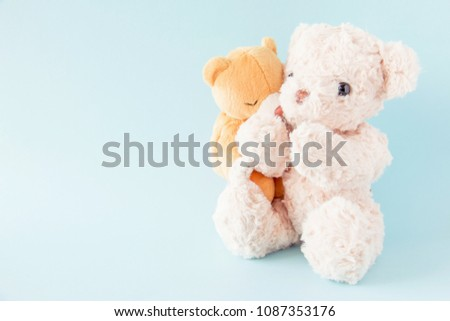 Teddy bears on pastel background ,The couple doll are happy in relationship is lover,Valentine concept. #1087353176