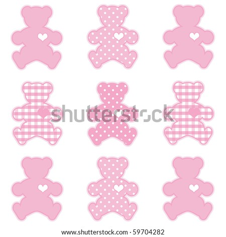 Teddy Bears with big hearts in pastel pink gingham and polka dots for baby books, scrapbooks and albums.