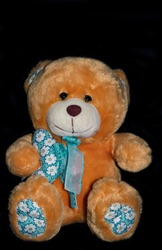 teddy bears with black background