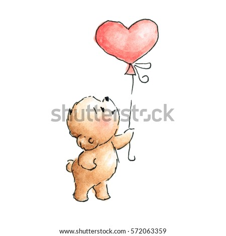 Teddy Bear With Balloon Drawn In Ink Stock Photo 572063239
