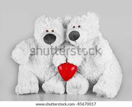 Teddy bears with red heart on grey background