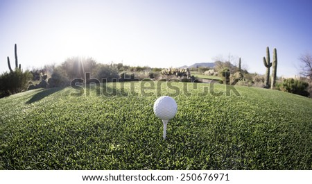 Tee off - golf ball - extreme wide angle view from from above. Fisheye lens effect.