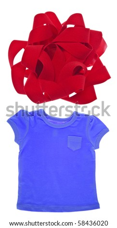 Tee Shirt with Holiday Bow Isolated on White with a Clipping Path.