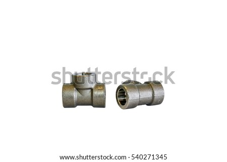 tee way pipe sockets steel weld pipe isolated on white background #540271345