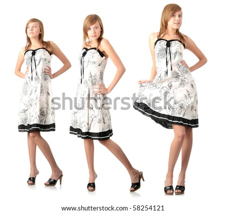 stock photo teen blond girl in elegant white dress 58254121 Teen woman in black elegant dress pointing on something isolated on white ...