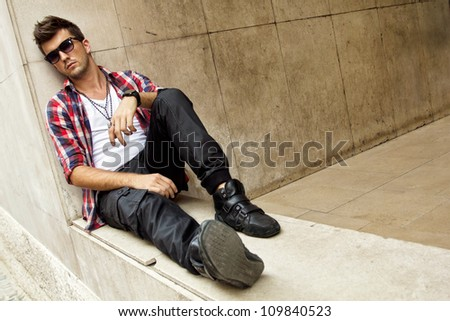 Teen boy dressed in Hipster style.