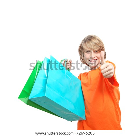 teen boy or kid shopping with shopping bag
