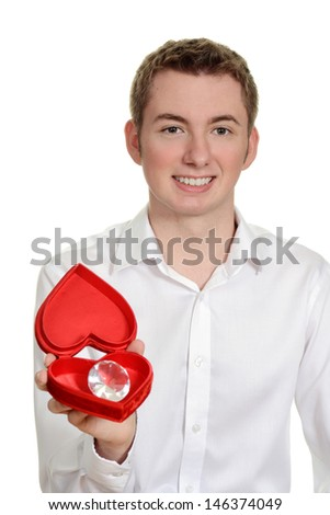 teen boy with heart box and large diamond