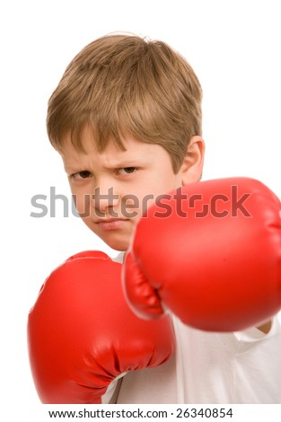 teen boy with red boxing gloves on a white background