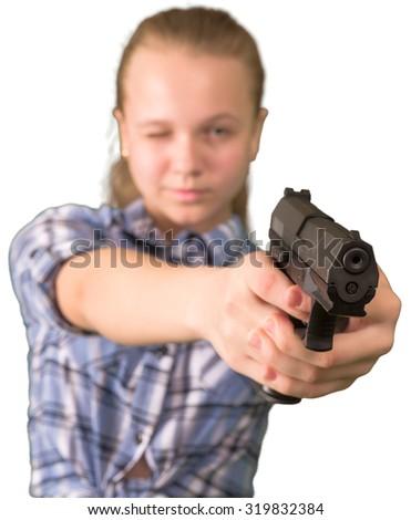 Teen girl with gun — img 12