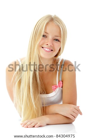 teen girl beautiful blond cheerful enjoying isolated on white background