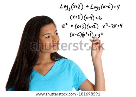 stock photo teen girl doing a math problem with black marker 101698591 Boy's Abs