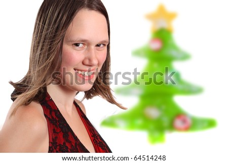 stock photo teen girl dressed up in party dress with colorful christmas tree in the background 64514248 Whipped Delight Dress: Features a chic strapless cut with a finely shirred ...