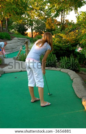 stock photo teen girl golfing at a miniature golf place in summertime 3656881 Hot 19 Year old Hoang Thuy Linh (popular TV series star titled Vang Anh's ...