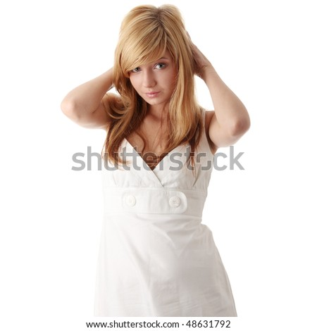 Teen girl in white dress, isolated on white background