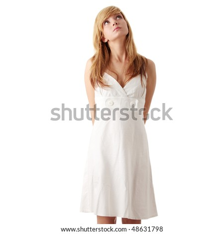 Teen girl in white dress, isolated on white background - stock photo