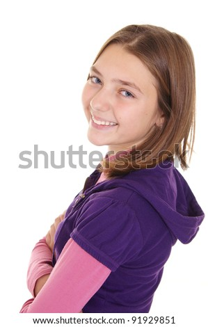 Teen girl isoalated on a white background