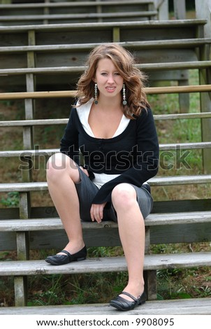 stock photo teen girl model posing on a set of old wooden stairs outdoors 9908095 The Catholic Apostolic Church, Edinburgh