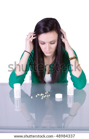 stock photo : Teen Girl Taking Drugs - Teenage Drug Addiction Problem