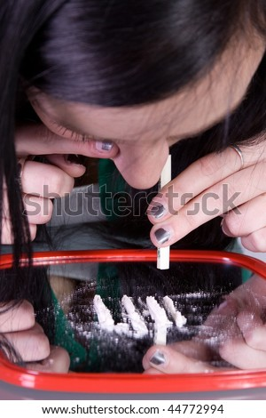 Teen Girl Taking Drugs - Teenage Drug Addiction Problem Cocaine