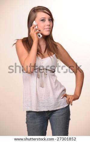 teen girl talking on the phone #27301852