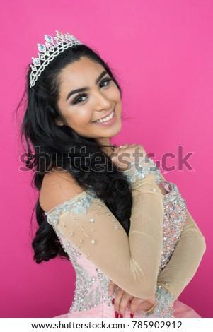 Teen girl wearing a dress for dance #785902912
