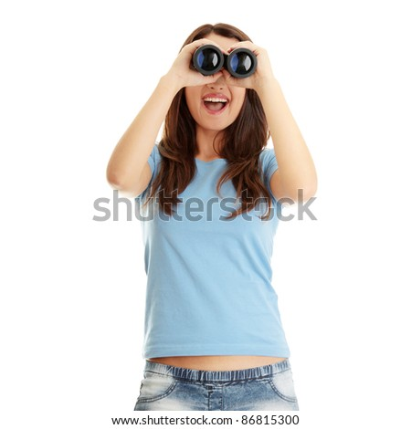 Teen girl with binocular isolated on white