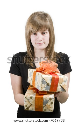 stock photo : Teen girl with Christmas gifts