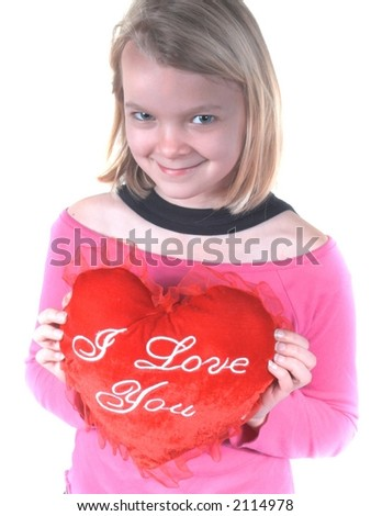 teen girl with i love you heart,great for mothers day or valentines