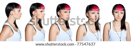 teen girl with interesting hair style and lot of face piercing portrait in few different perspectives collection