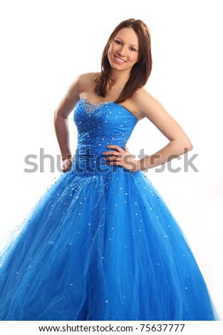 Teen in blue dress, prom or bridesmaid