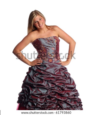 Teen in prom or bridesmaid dress on a white background